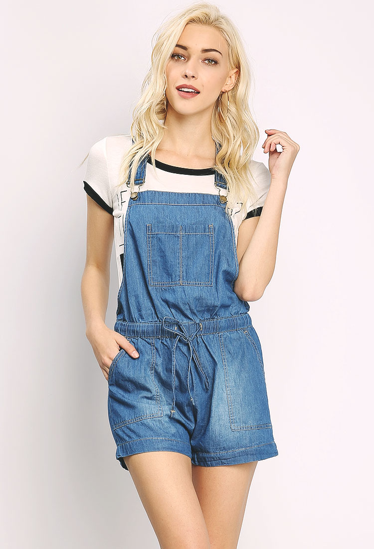 0d054f8858a ... Chambray Overall Romper ...