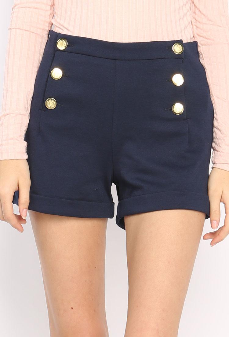 6 Buttons High-Waisted Shorts | Shop Bottoms at Papaya Clothing