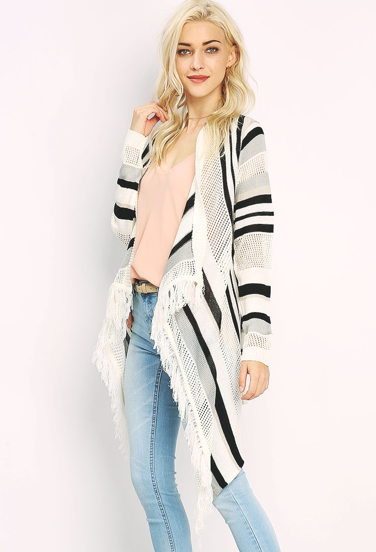 Fringe Striped Cardigan | Shop Cardigans at Papaya Clothing