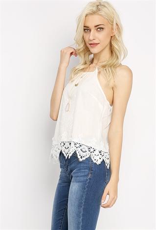 Embroidery LaceHem Top  Shop Tops At Papaya Clothing