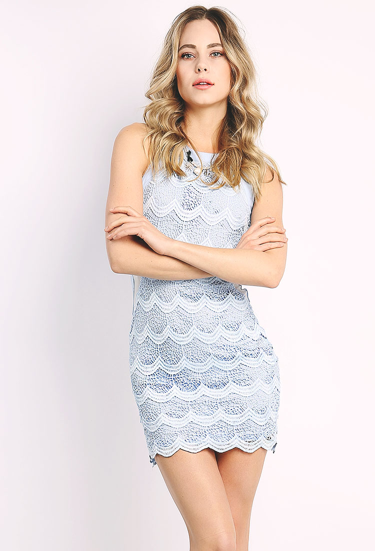Crochet Overlay Mini Dress Shop Girlfriend Soiree At Papaya Clothing