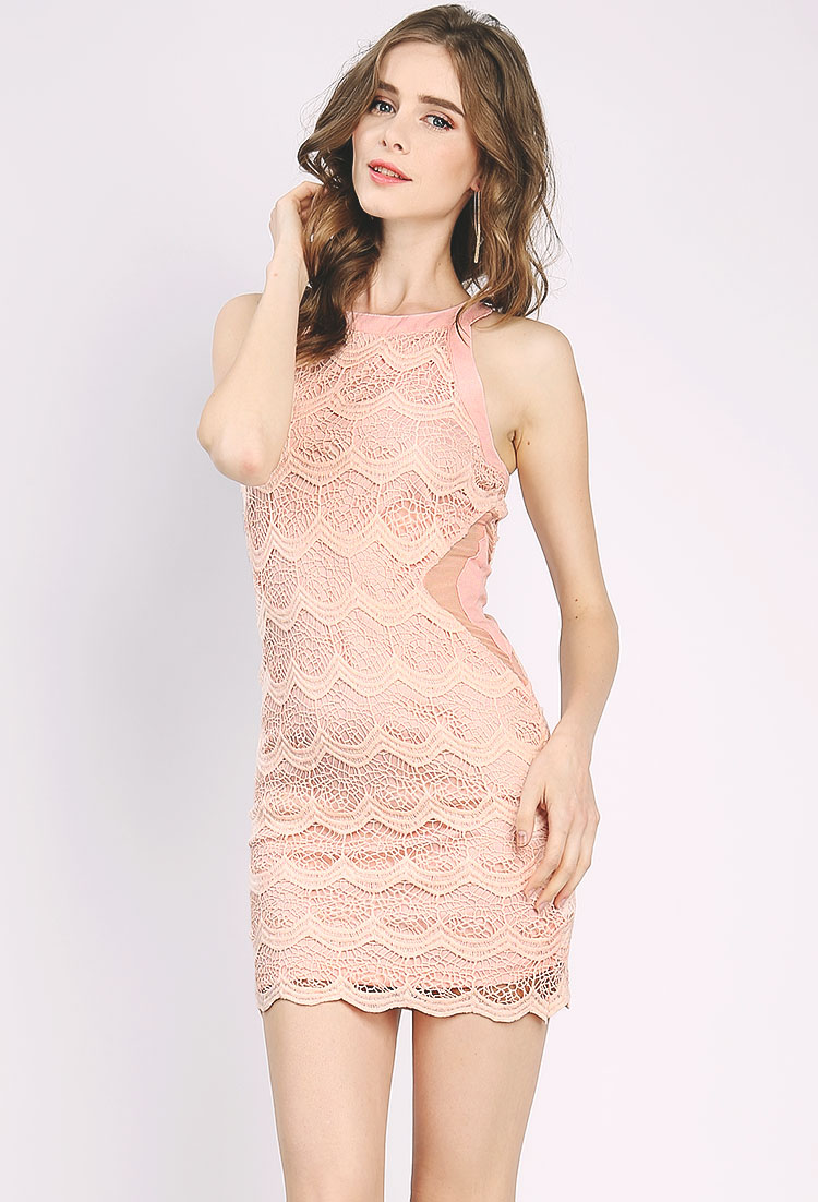 crochet overlay mini dress