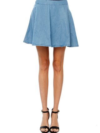 Denim Flare Skater Skirts