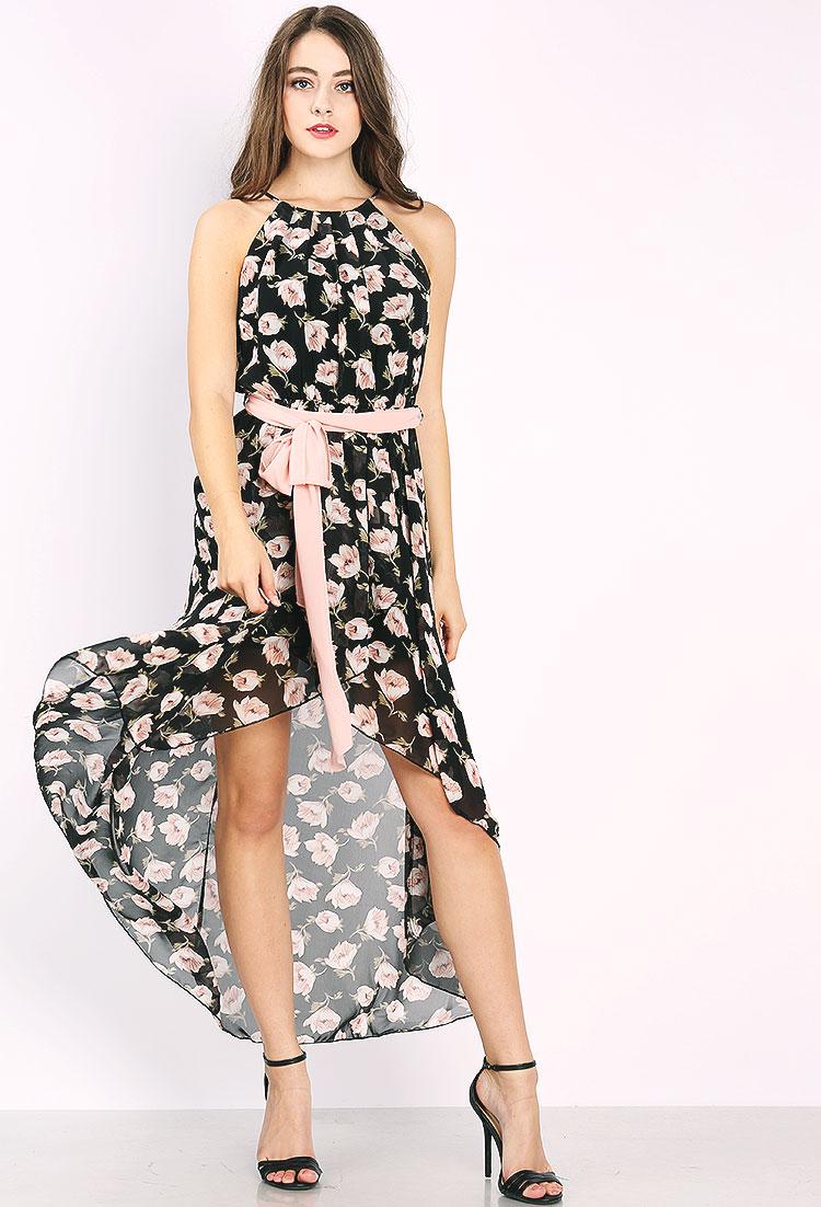 floral max dress w/belt