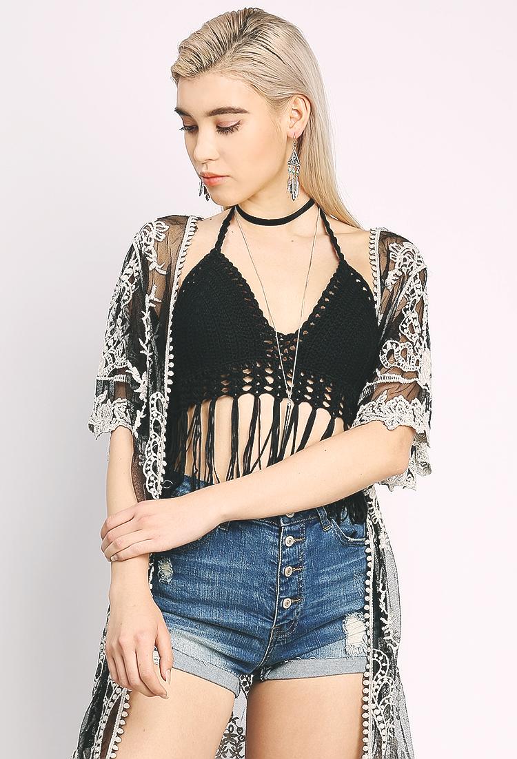 Fringed Crochet Halter Crop Top Shop Bodysuit At Papaya Clothing