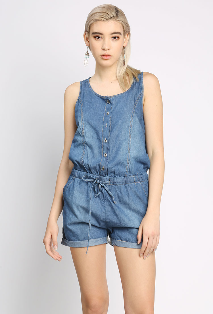 Sleeveless Denim Romper | Shop Romper at Papaya Clothing