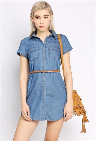 belted denim shirt dress shop denim daze at papaya clothing