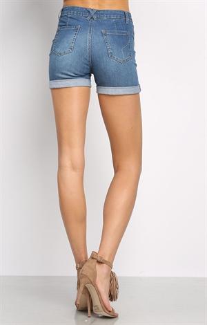 high waisted denim shorts shop clothing at papaya clothing