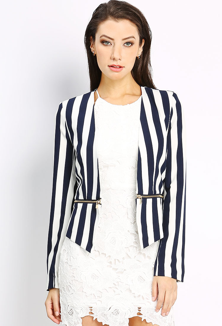 Vertical Striped Jacket | Shop Blazers at Papaya Clothing