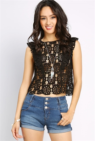 Sleeveless Lace Crop Top | Shop Night Out Outfits At Papaya Clothing
