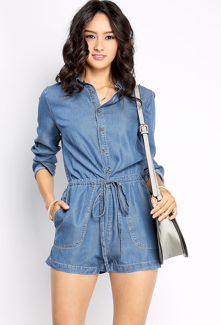 Long Sleeve Denim Romper | Shop Jumpsuit U0026 Romper At Papaya Clothing