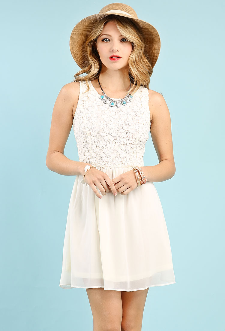a882c14d2cef Crochet With Chiffon Flare Dress | Shop Old Dresses at Papaya Clothing