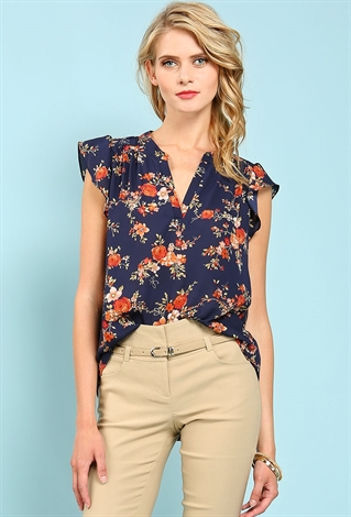 Ruffled Sleeve Floral Print Popover Top
