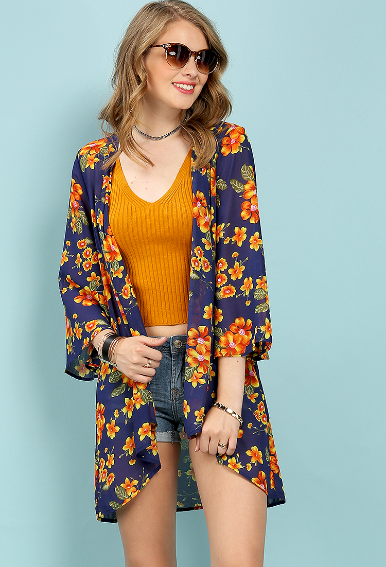 Floral Patterned Open Kimono Cardigan   Shop Lightweight at Papaya ...