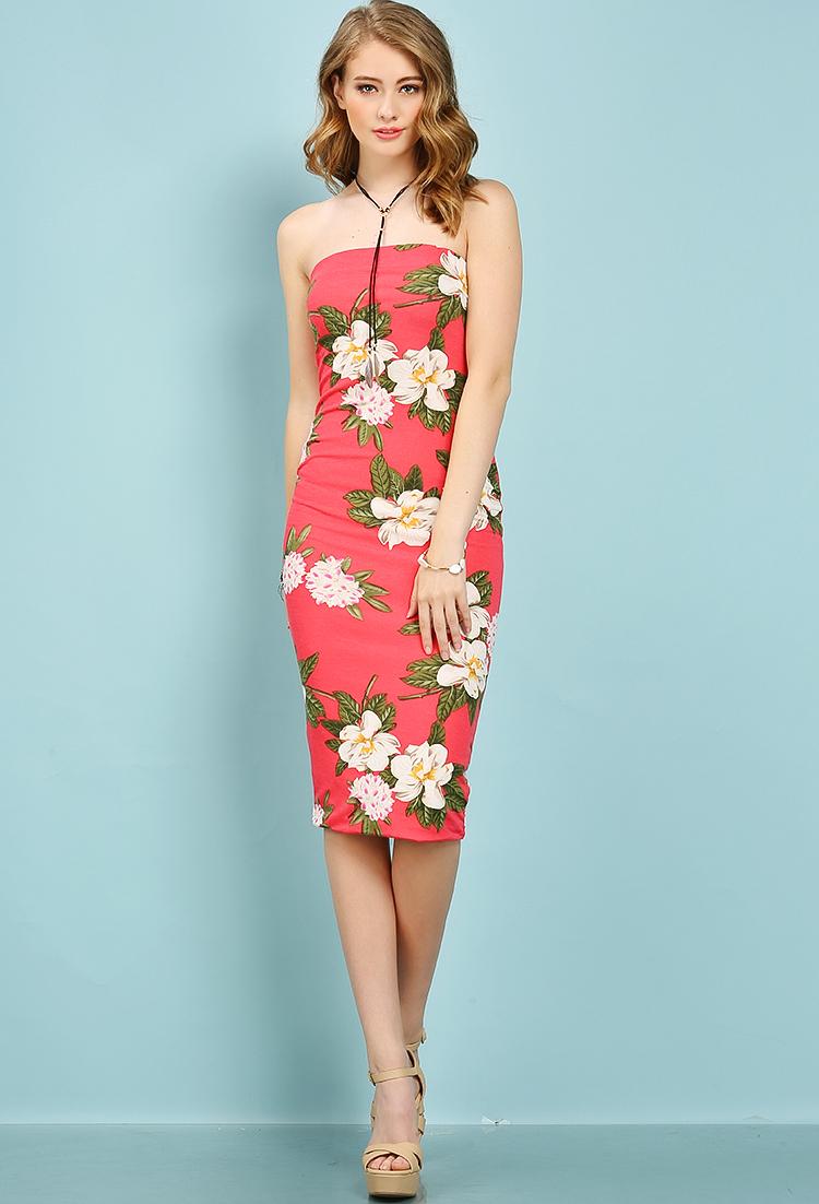 6cdbfe94db65 Flower Patterned Tube Top Midi Dress | Shop Old Mini Dresses at Papaya  Clothing
