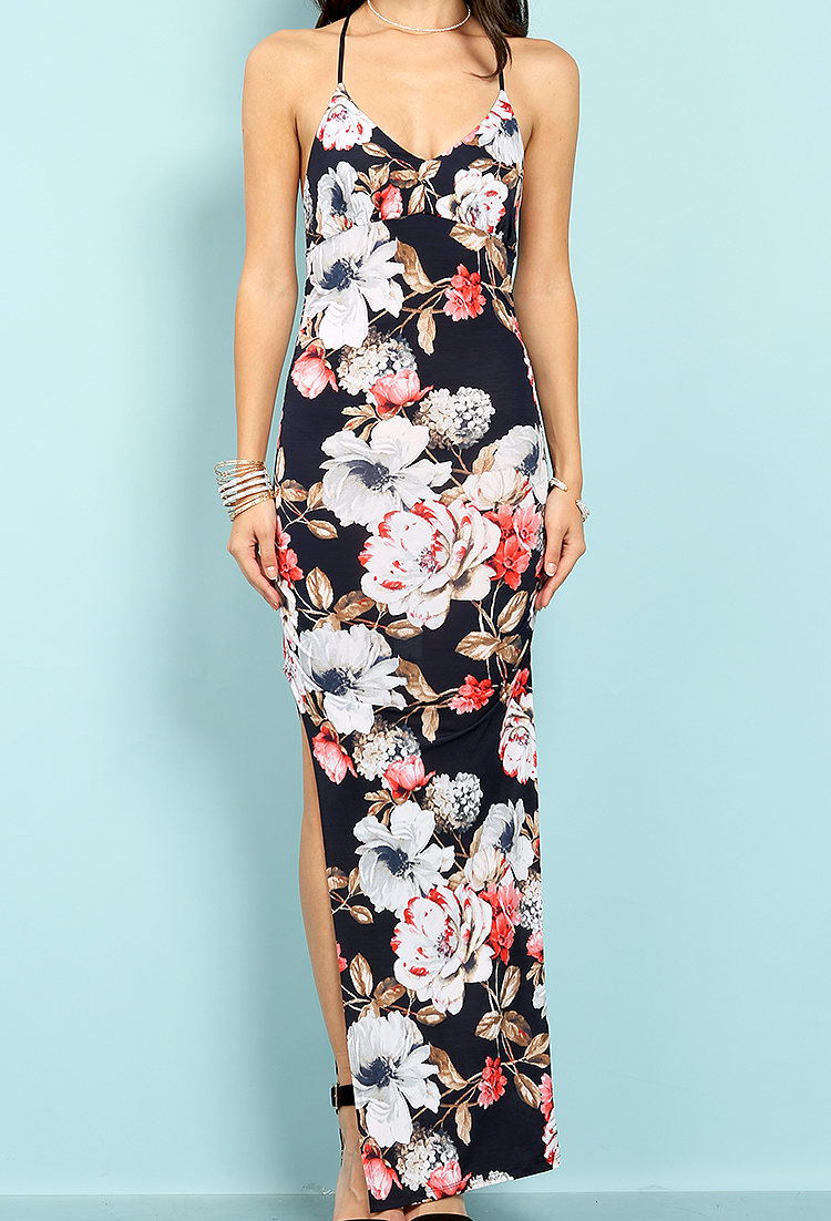 ae0ce1f77ca7 Floral Pattern Side Shirring Cut Out Long Dress