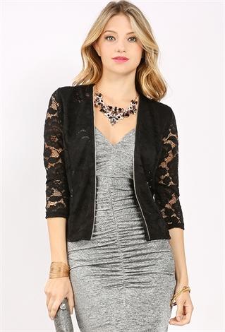 Lace Zip Up Cardigan | Shop Sweaters & Cardigans at Papaya Clothing