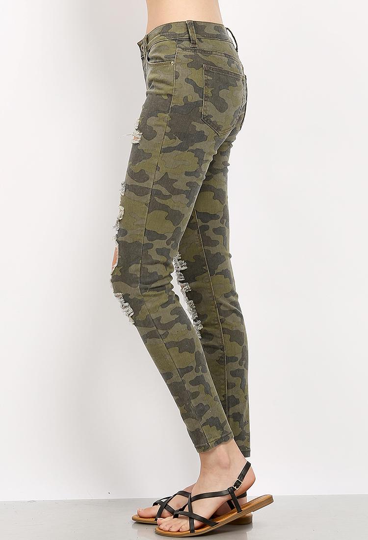 Camo Skinny Jeans | Shop Pants at Papaya Clothing