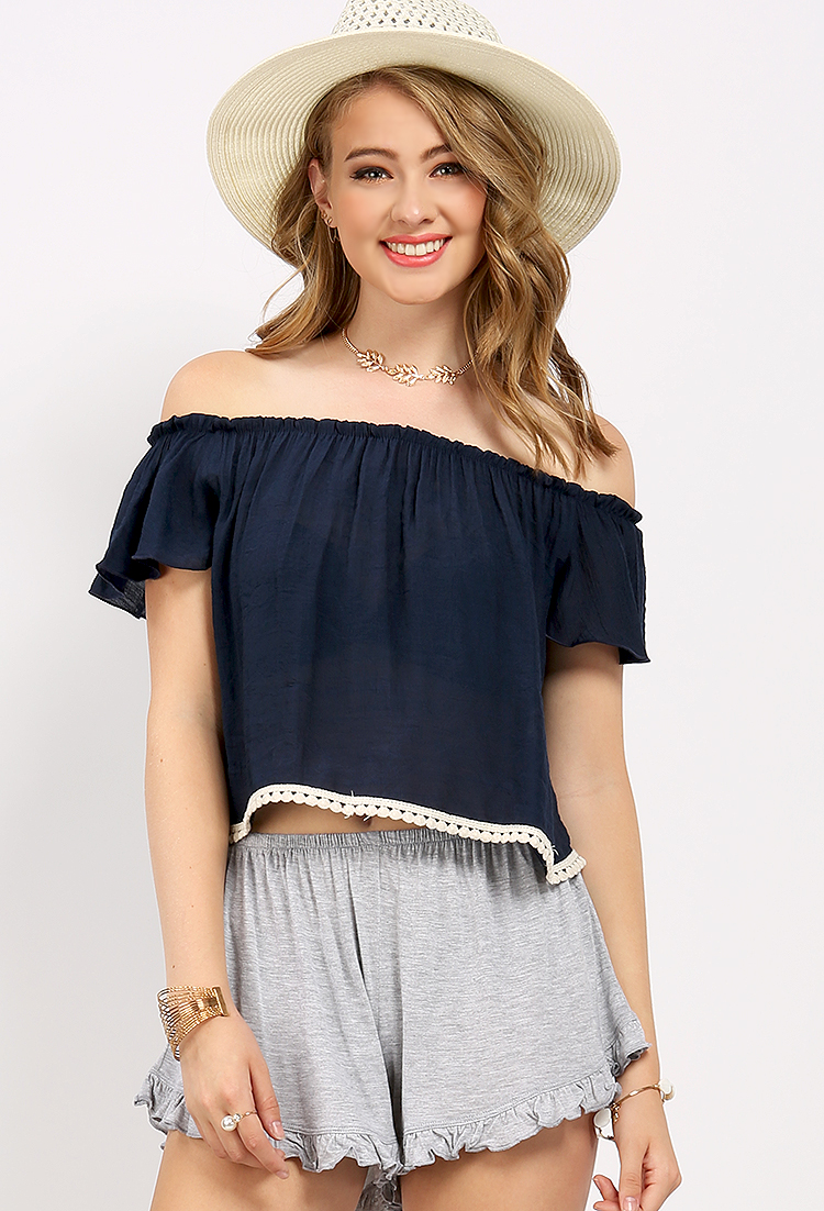 Crochet Detail Off Shoulder Crop Top | Shop Move In Style at ...