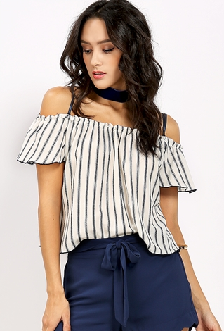 ... Striped Off-The-Shoulder Top ...