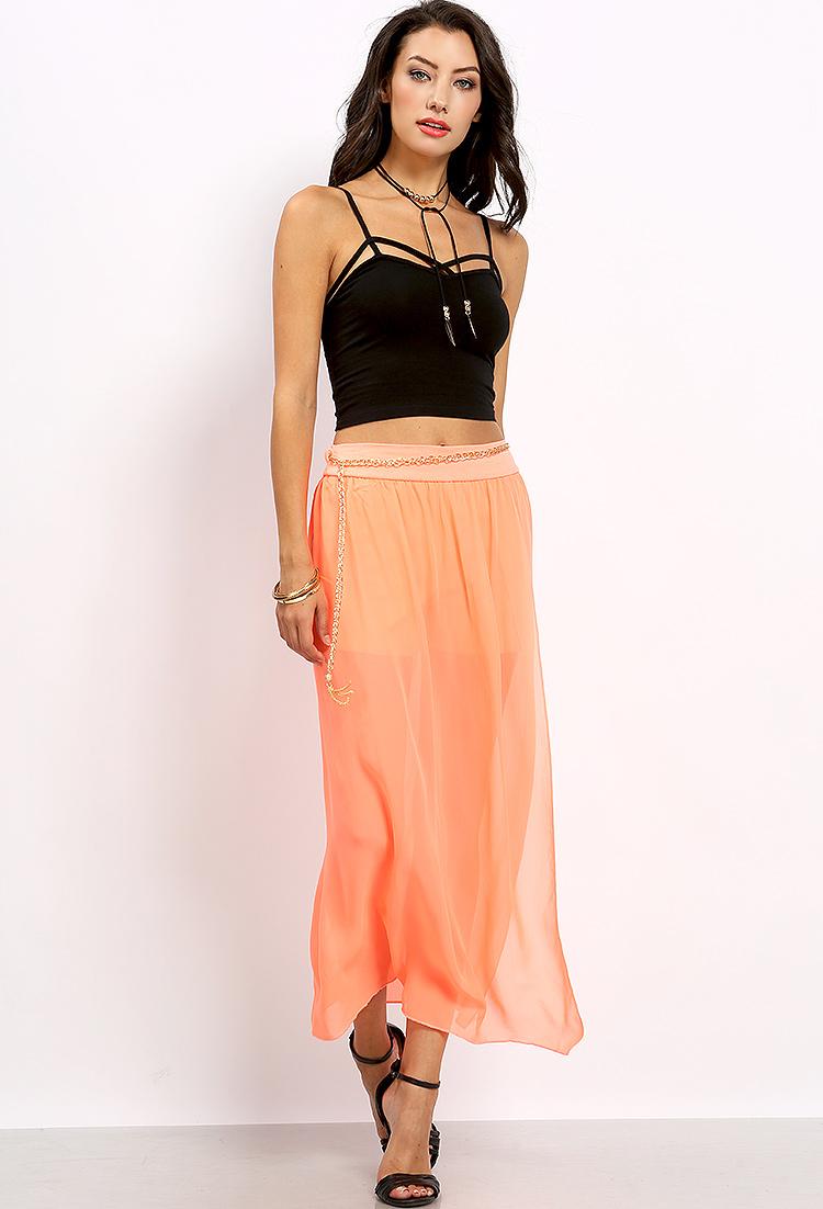 Chain Belted Sheer Maxi Skirt   Shop Maxi Skirts at Papaya Clothing