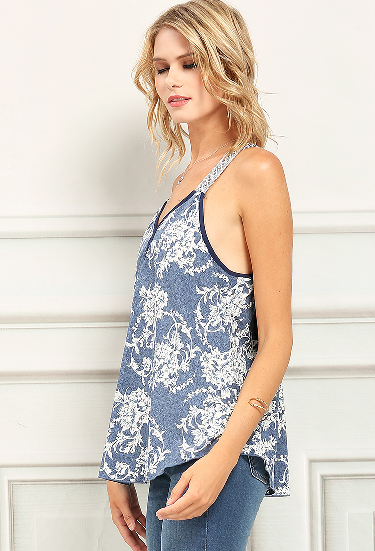 Floral patterned chambray sleeveless top shop blouse for Chambray top