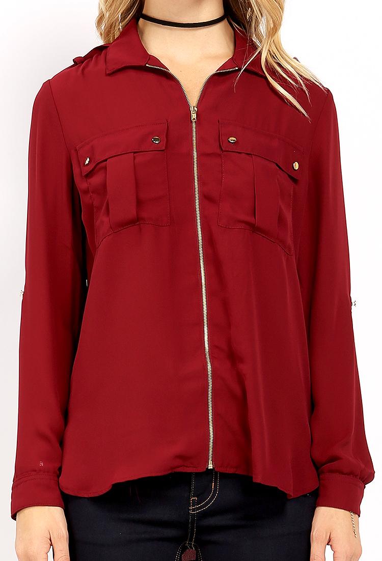 Zipper front dual pocket shirt shop tops at papaya clothing for Travel shirts with zipper pockets