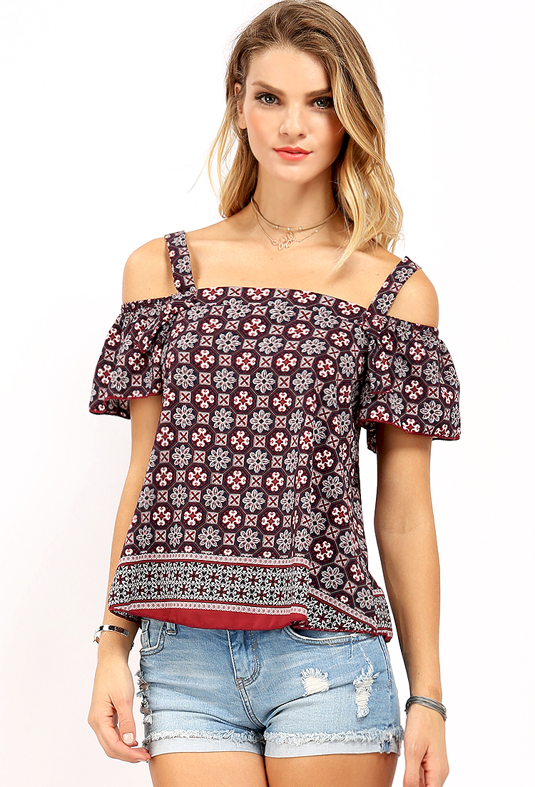 Ornate Floral Print Open-Shoulder Top | Shop Blouse & Shirts at ...