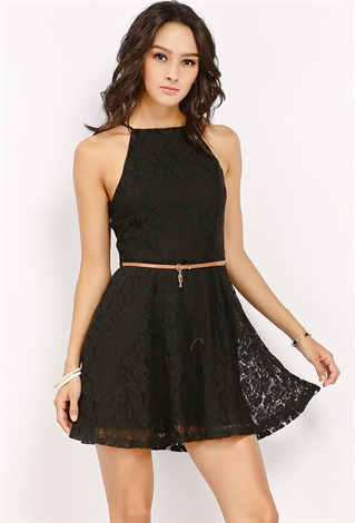 lace overlay cami mini dress w belt shop dresses at