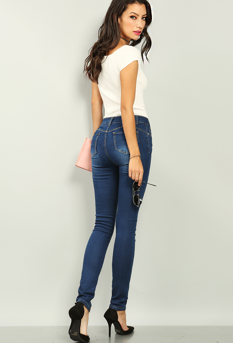Model jeans image Butts Up Mid Rise Skinny Jeans Shop Old Jeans At Papaya Clothing
