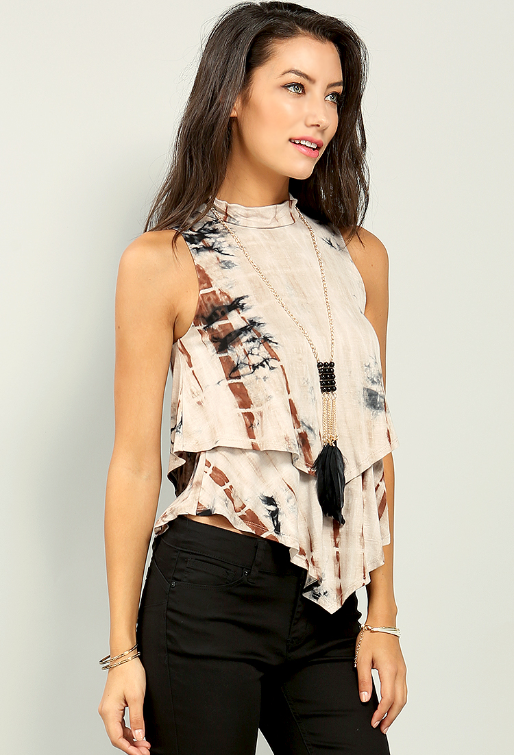 Tie dyed sleeveless top w necklace shop tops at papaya for Tie dye sleeveless shirts