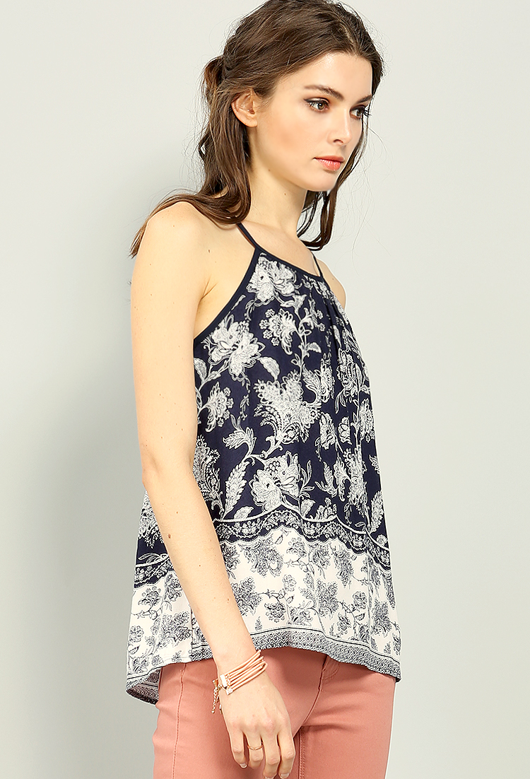 Abstract Floral Sleeveless Top