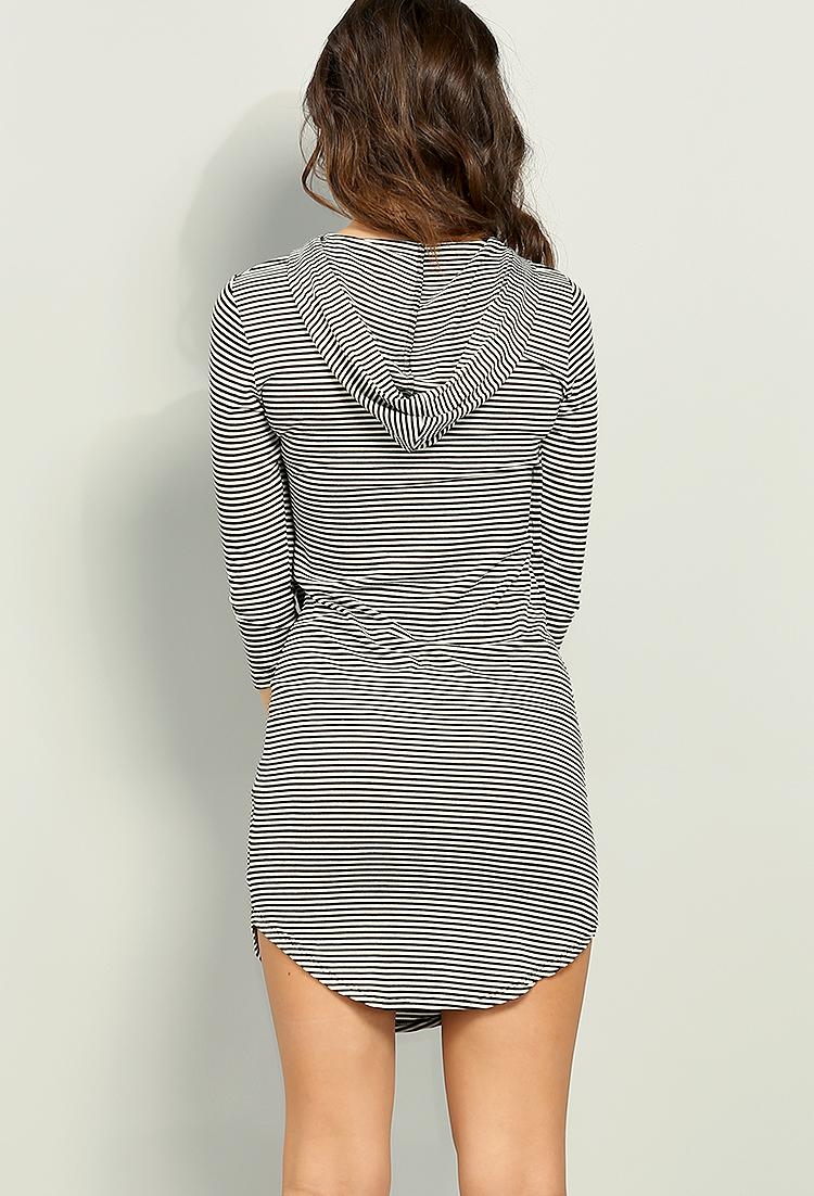 f91369d59403b Shimmery Stripe Hooded T-Shirt Dress   Shop Old Dresses at Papaya ...