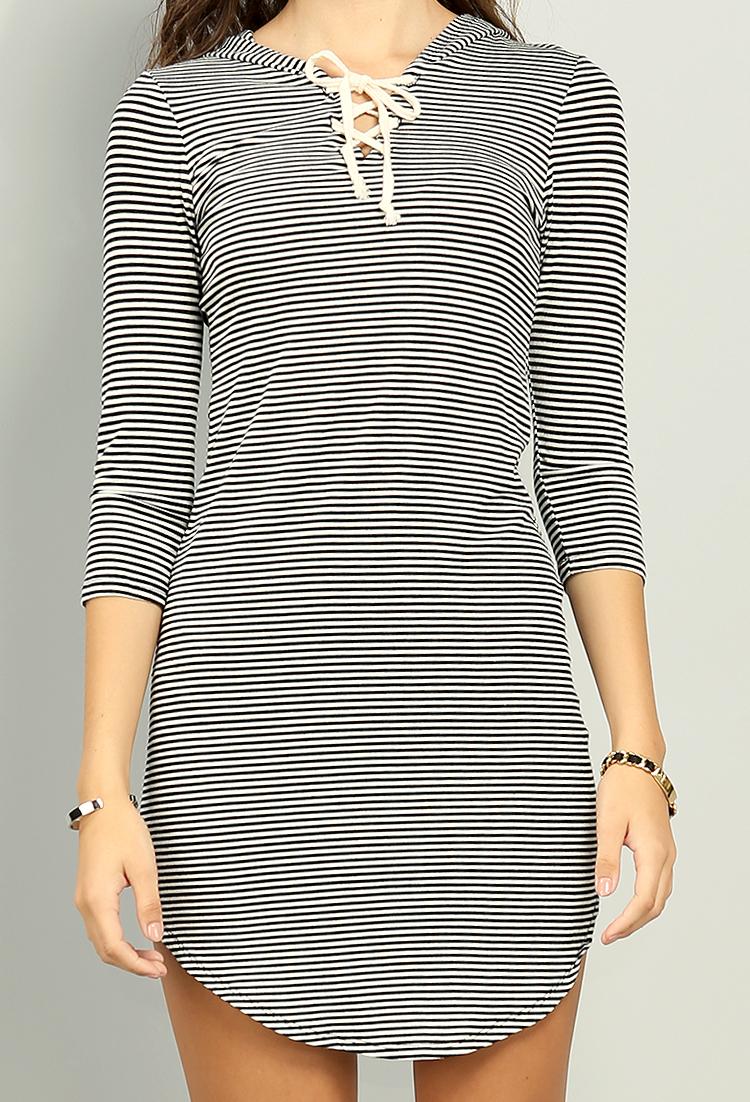 Shimmery Stripe Hooded T Shirt Dress Shop Off The Shoulder At