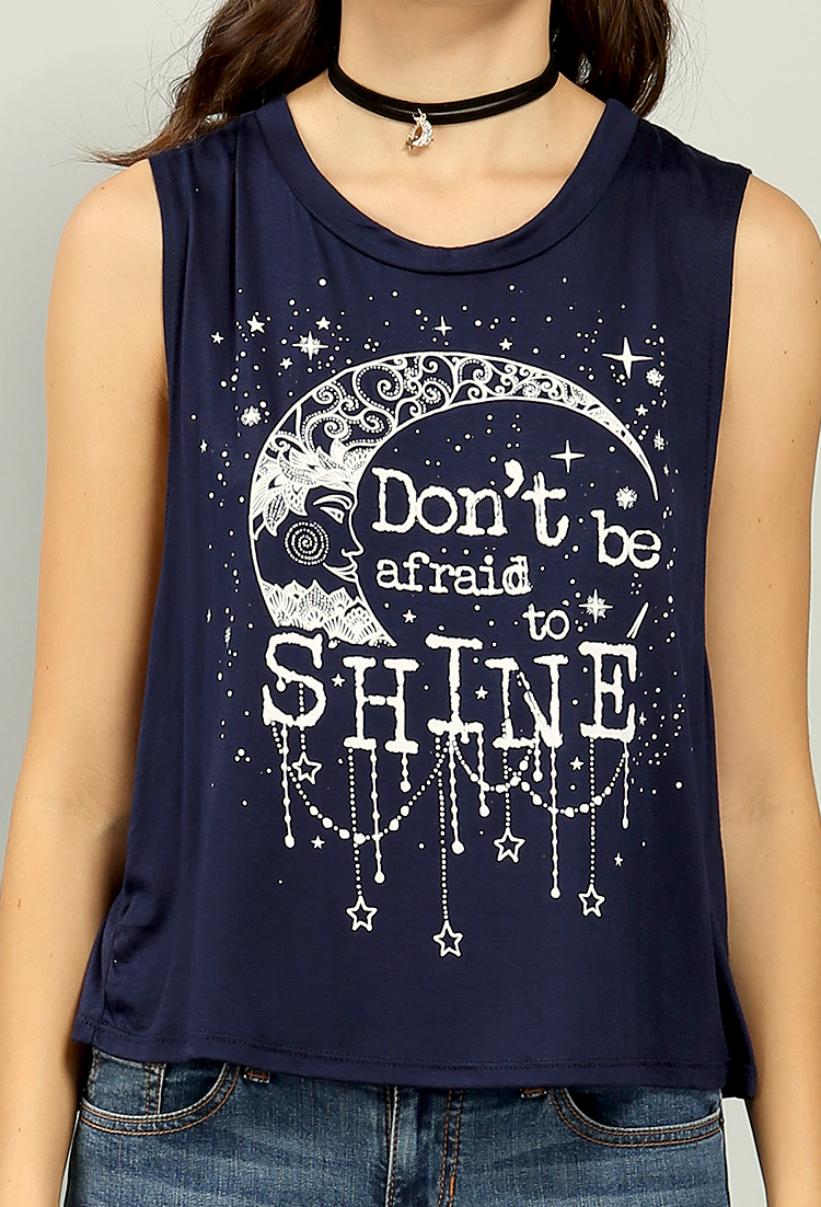 Sleeveless moon graphic tee shop tops at papaya clothing for Sleeveless graphic t shirts