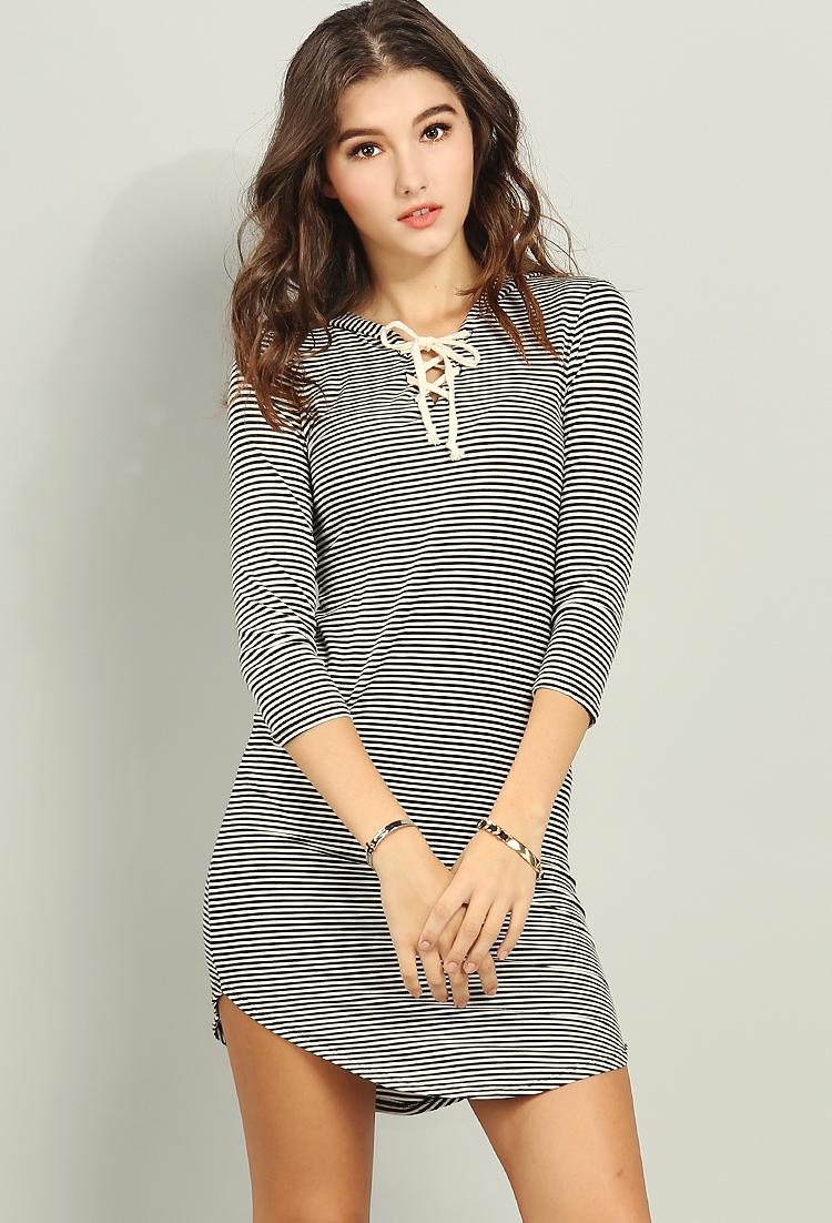 02cf8282f8d25 Shimmery Stripe Hooded T-Shirt Dress   Shop Off-The-Shoulder at Papaya  Clothing