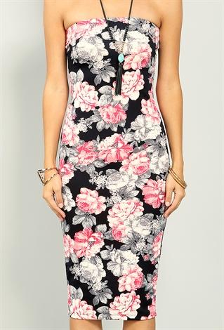 floral tube bodycon dress shop at papaya clothing