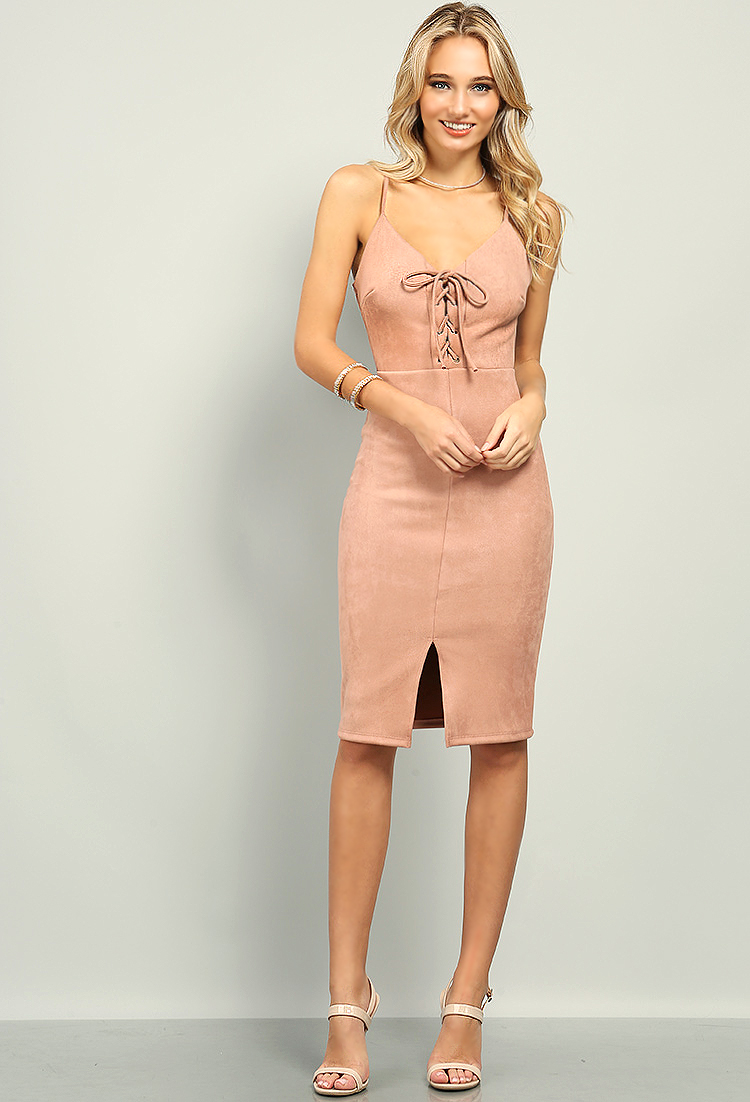 Faux Suede Lace Up Cami Dress Shop Valentines Day At