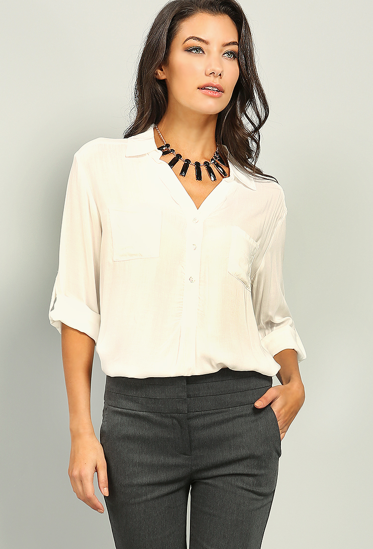 V neck button accented shirt shop blouse shirts at for V neck button up shirt