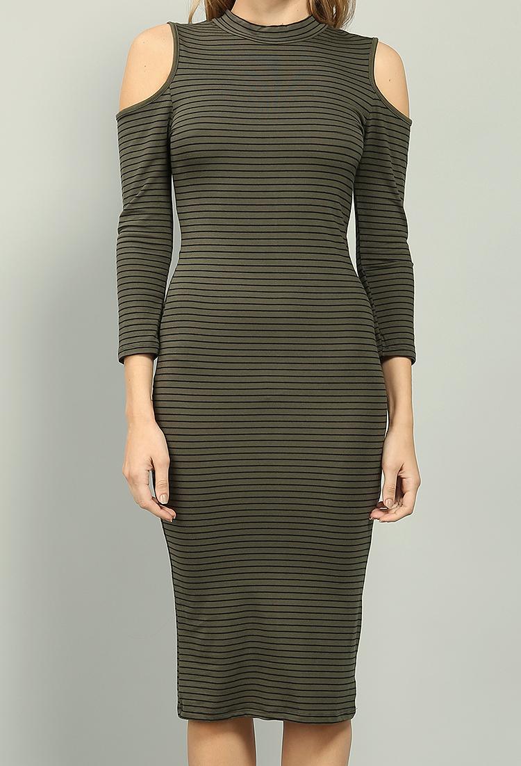 42e4e1ae4242 Striped Cutout Shoulder T-Shirt Dress