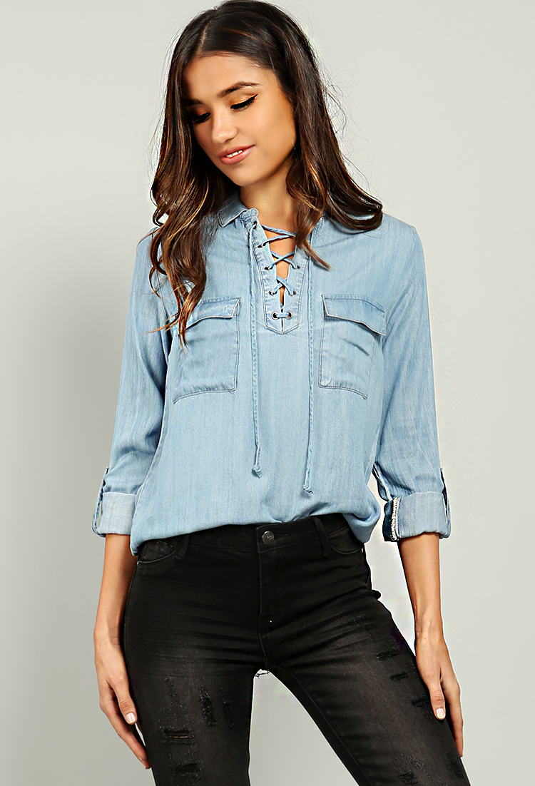 Two Pocket Chambray Lace-Up Blouse  f22136478