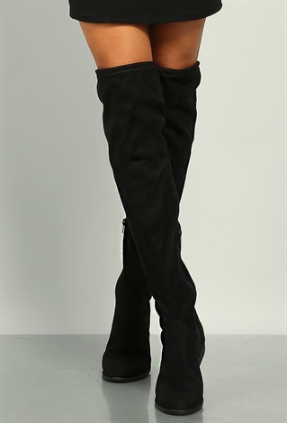 suedette thigh high boots shop shoes at papaya clothing
