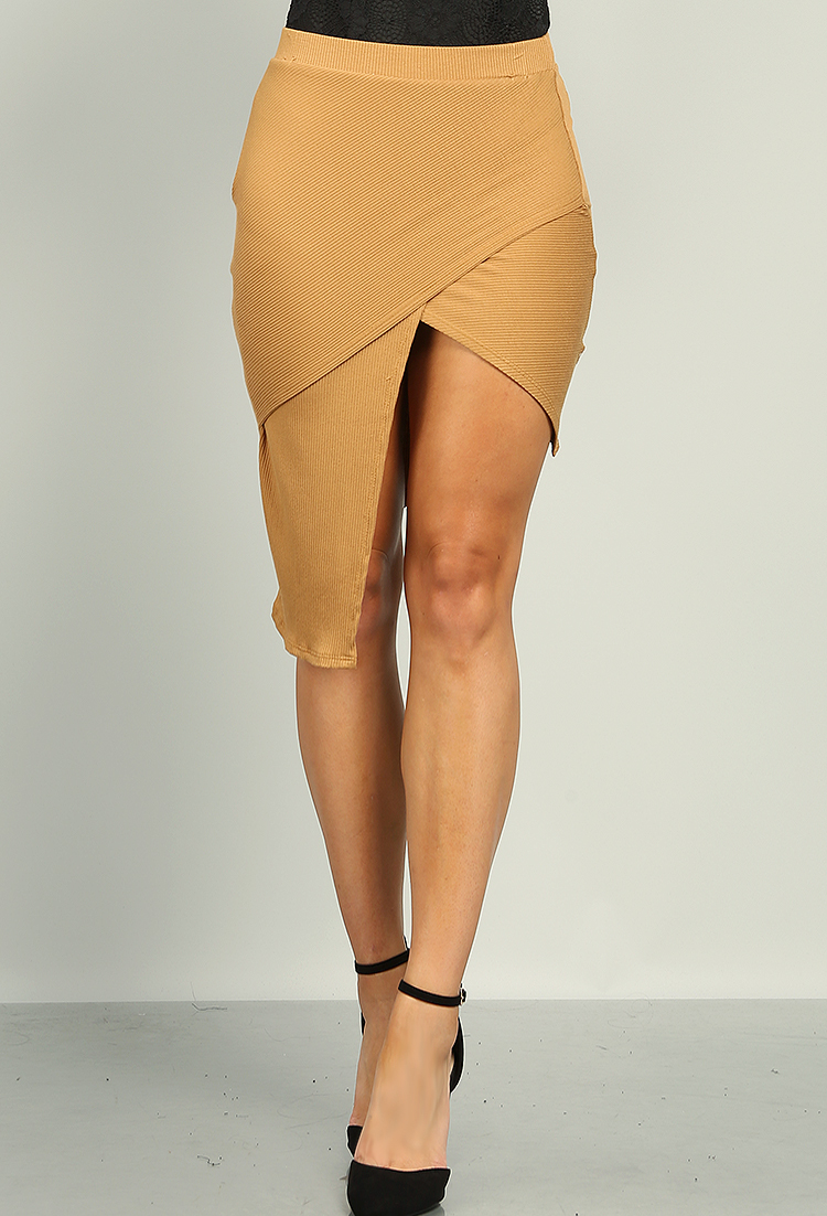 Asymmetrical Ribbed Skirt