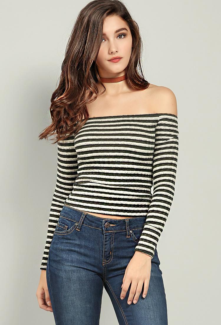 2627e7e746c Striped Off-The-Shoulder Knit Top | Shop Old Tops at Papaya Clothing