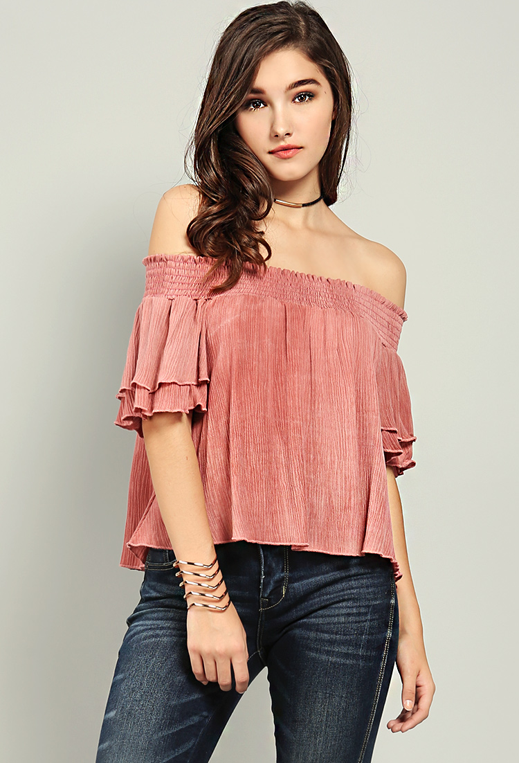 813c0347fc124 Off-The-Shoulder Pleated Ruffle Sleeve Top