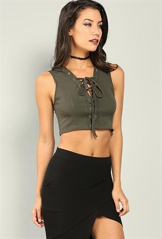 Lace-Up Tank Crop Top   Shop Dressy Tops at Papaya Clothing