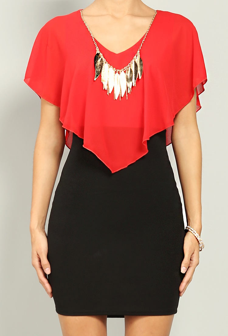 Chiffon Bodycon Dress W/ Necklace