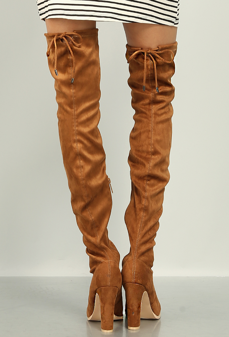 e3d1a53562b Suedette Thigh High Boots | Shop Old Blogger`S Picks! at Papaya Clothing