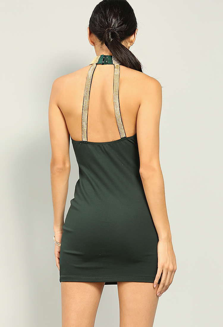 Chain Detail Halter Bodycon Dress