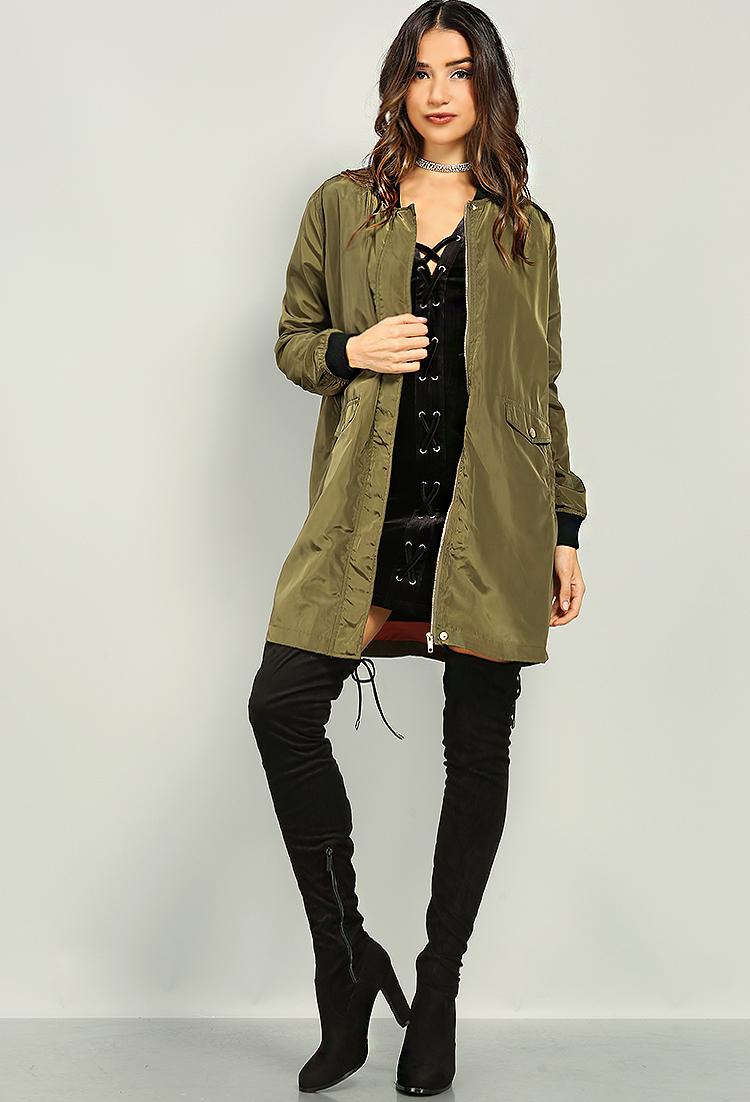 07e16e2e71a6 Longline Bomber Jacket | Shop Old Sale Outerwear at Papaya Clothing